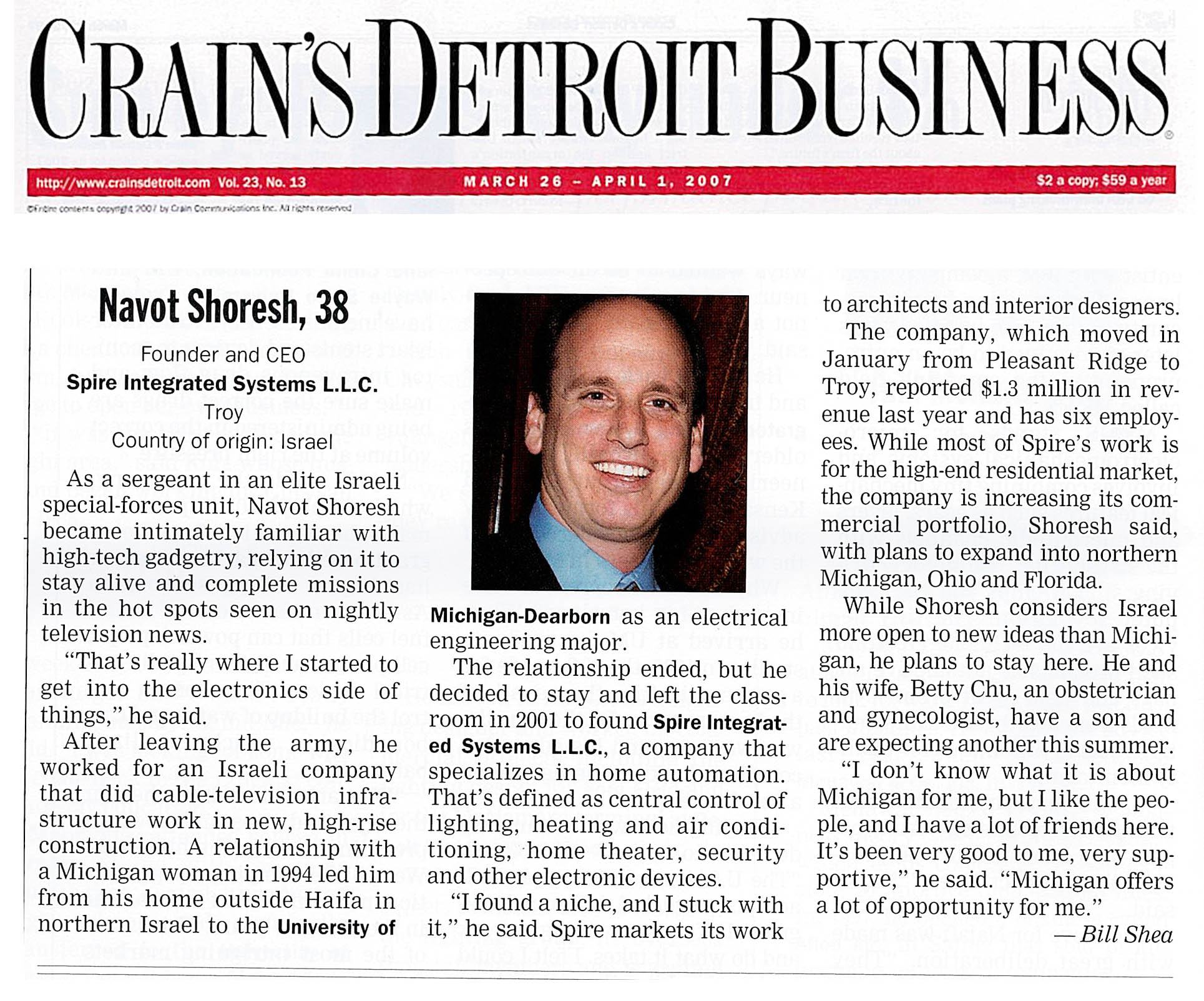Navot Shoresh featured in Crain's Detroit Business