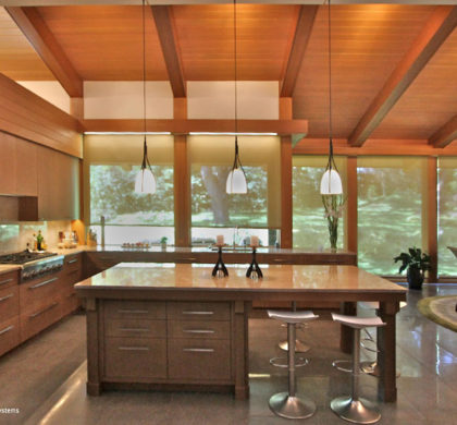 LEED Platinum Certified House: LED lighting fixtures, with different daytime and nighttime settings, work in concert with motorized window treatments to provide a comfortable, yet efficient, environment.