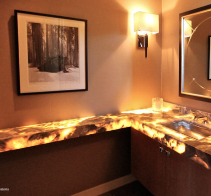 LEED Platinum Certified House: Bathroom with LED under lighting