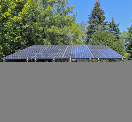 LEED Platinum Certified House: Large outdoor solar panel rotates as the sun crosses the sky to capture as much solar generated energy as possible.