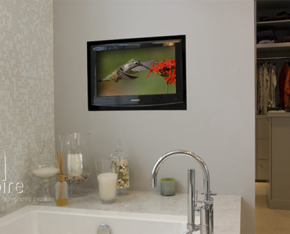 Lake House: In Wall TV for Bathroom