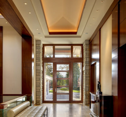 Lake House Entrance & Lake House: Skylight u0026 glass floor allow natural light to flow to ...
