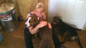 Michelle giving the dogs some love.